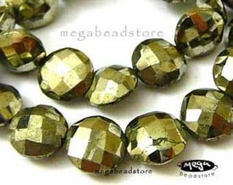 33 pcs 8mm Pyrite Faceted Coin Lentil Shape Beads