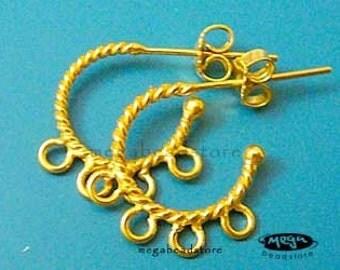 Hoop Earring 4 Loops Vermeil Gold Bali Ear Posts with Backings F99V- 1 pr