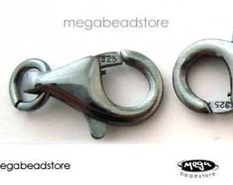 12mm Patina Clasp Dark Oxidized 925 Sterling Silver Lobster Clasps F44Z- 1 pc