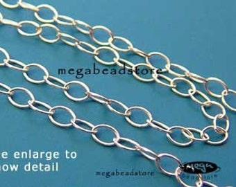 10 feet Sterling Silver Loose Chain Cable Chain 2.5mm x 2mm CH53