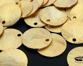 20 pcs 10mm Gold Plated Sterling Silver Brushed Disc Charm Tags F163V