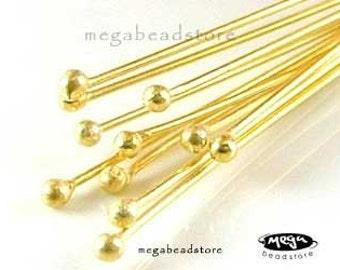 25 pcs 26 Gauge Gold Plated Sterling Silver Headpins Single Dot Head Pins F08V