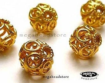9mm Bali VERMEIL Gold Beads Filigree Wire Cage Beads B216V -2 pcs