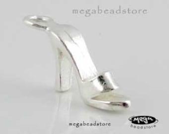 2 pcs High Heel Shoe Charm 925 Sterling Silver F91