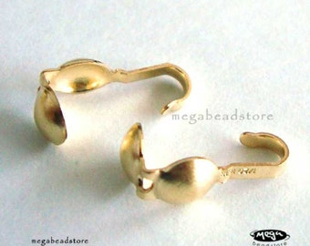 20 pcs 14K Gold Filled End Clam Shell Tip Beads 1 Loop F103GF