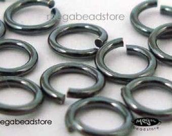 50 pcs 4mm Dark Oxidized Sterling Silver Jump Rings Open 20.5 Gauge F29Z