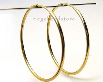 2 pcs 40mm Gold Filled Endless Hoop Earring Earwire F336GF