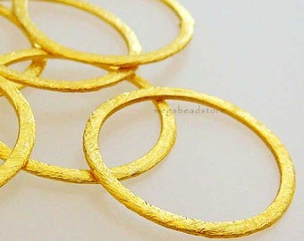 4 pcs 24mm Vermeil Flat Rings Hammered Brushed Round Rings F118V