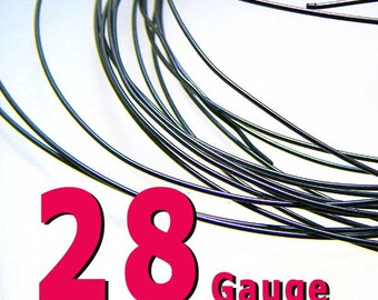 20 feet 28 Gauge Patina 925 Sterling Silver Wire Dark Oxidized Half Hard
