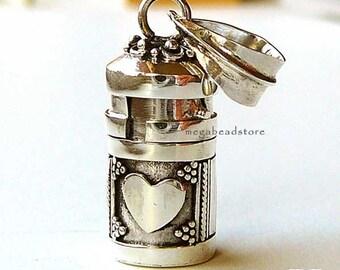 Small Heart Tube Pendant Bali 925 Sterling Silver Locket Pendant P61