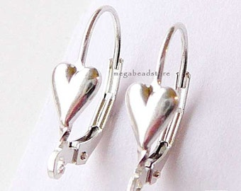 4 pcs Heart Leverback 925 Sterling Silver Ear Wires F369