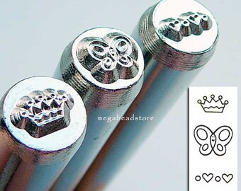 Whimsy - Metal Stamping Punch Tool- Crown Butterfly Hearts