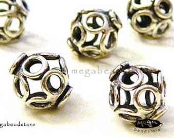 5 pcs 7mm Bali Sterling Silver Beads Patina Oxidized Hollow Beads B260