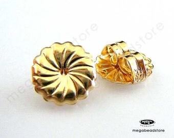 4 pcs 9mm Large Swirl 14K Gold Filled Earring Post Backing Findings F337GF