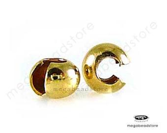 25 pcs 3mm Crimp Covers 14K Gold Filled Crimp Bead Cover F59GF