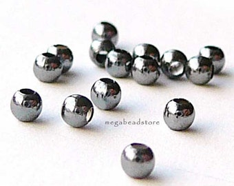 50 pcs 3mm Patina Oxidized Sterling Silver Beads Seamless Spacers B39Z