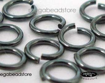 100 pcs 4mm 20.5 Gauge Patina Oxidized 925 Sterling Silver Open Jump Rings F29Z