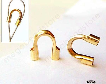 """40 pcs Large 0.045"""" Hole 14K Gold Filled Wire Protector Loop Beads F124GF-L"""