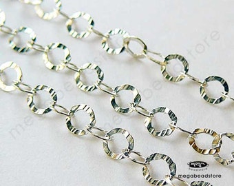 3 Ft Sterling Silver Cable Chain Flat Ring 3.5mm- Hammered Textured CH15