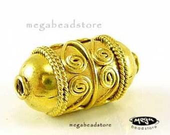 2 pcs 15mm Vermeil Gold Beads Barrel Bali Silver Beads B01V