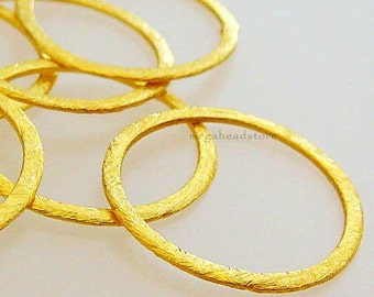 24mm Vermeil Flat Rings Hammered Brushed Round Rings F118V - 4 pcs