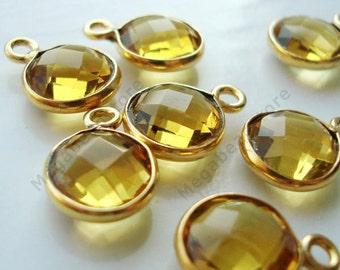 4 pcs 8mm Gold Bezel Citrine Yellow Gemstone Charm F383