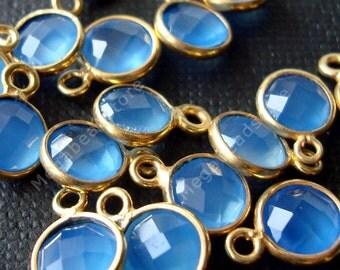 4 pcs 6mm Gold Bezel Blue Chalcedony Gemstone Charm Pendant F383