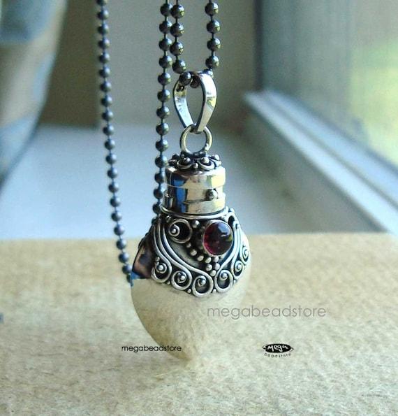 Garnet Perfume Bottle Pendant with Chain- 925 Sterling Silver P30J