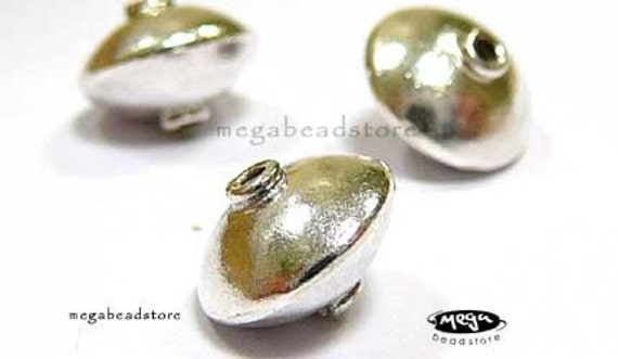 5 pcs 9mm 925 Sterling Silver Saucer Beads B249-S