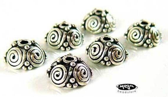 6 pcs 7mm Spiral Bead Caps Bali Oxidized 925 Sterling Silver Handmade C55