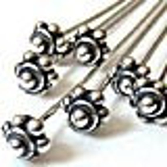 5 pcs 24 Gauge Large Bali Sterling Silver 925 Head Pins 24 Gauge F06