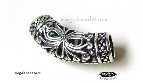 Large Bali Sterling Silver Bead Pendant Slider B152