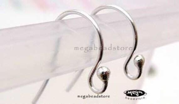 10 pcs 925 Sterling Silver Earwires Single Dot Ear Wire Earring Hooks F224