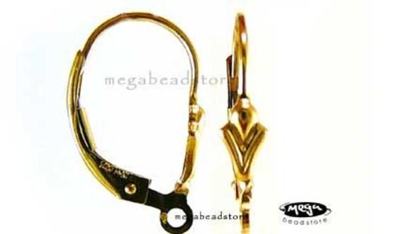 4 pcs Fleur De Lis 14K Gold Filled Ear Wire Lever back Earring F125GF