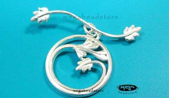 925 Sterling Silver Toggle Clasp Bright Silver Large Round Vine Plant T120