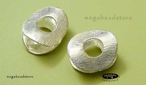 Sterling Silver Beads Brushed Bright Silver Round Very Unique B263- 2 pcs
