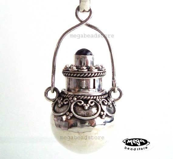 Amethyst Locket Pendant Perfume Bottle- Bali 925 Sterling Silver P22