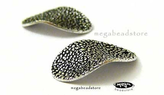 20mm Patina Oxidized Disc Wavy Oval Sterling Silver Disc Top Drilled F278- 2 pcs