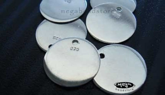 925 Sterling Silver Blank Disc 14mm High Polished Charms F311 -7 pcs