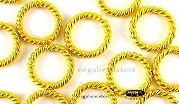 185 pcs 7mm Vermeil Gold Closed Jump Rings Wire Twist Rings F05V