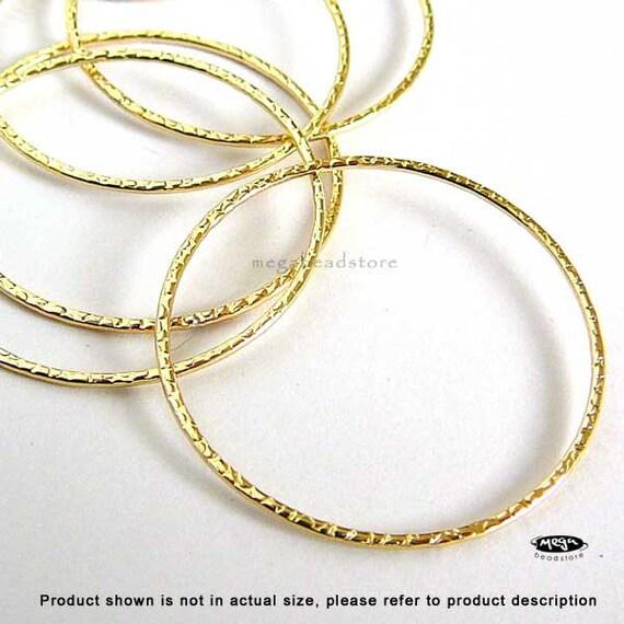 20mm 14K Gold  Filled Hammered Pattern Rings F328GF - 4 pcs