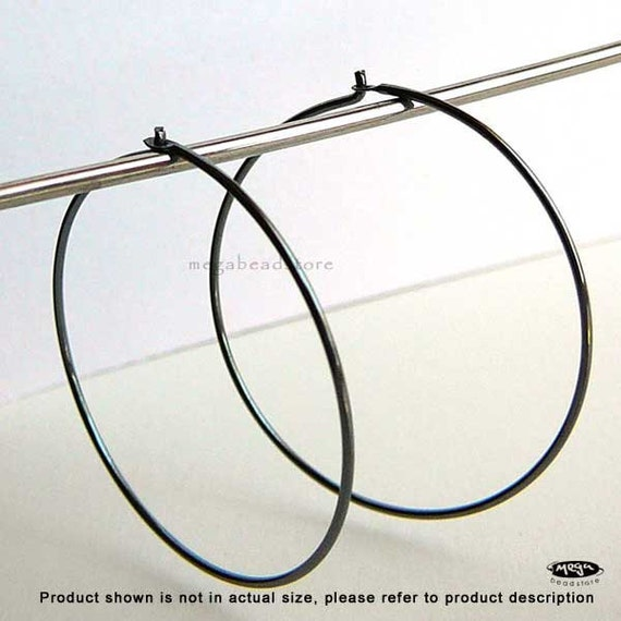 30mm Beading Hoop Rustic Oxidized 925 Sterling Silver  F345Z - 6 pcs