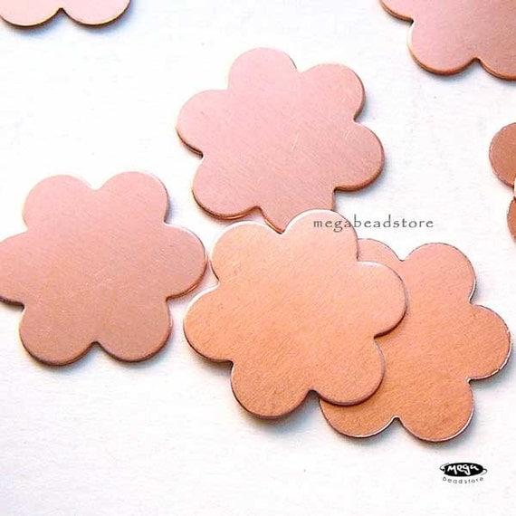 20 pcs 18mm Flower Blanks 6 Petals 24 Gauge Copper Stamping Blanks BLC4
