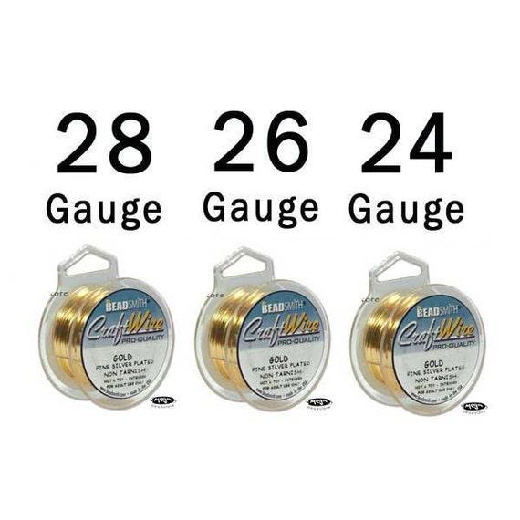 28 26 24 Gauge Craft Wire Mix Non-Tarnish Gold Wire Round- 3 Spools