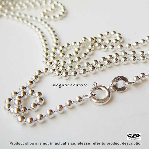16 inch 2mm Bead Chain 925 Sterling Silver Ball Chain Necklace FC22