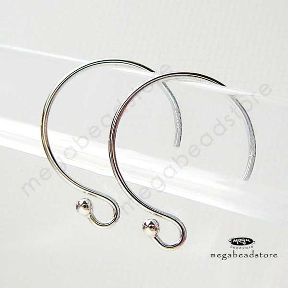 925 Sterling Silver Earwires Single Dot Ear Wire Round Hooks F153 -10 pcs