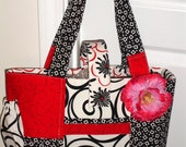 Gorgeous Tote Handbag  - On The Go  with Black/White/Red