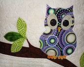 Owl Pillow Cover Quilted - Opal, Out on a Limb - 17 x 17 Inch New Accent Pillow OOAK