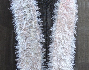 Handknitted Winter Scarf - Variegated/Eyelash Yarn