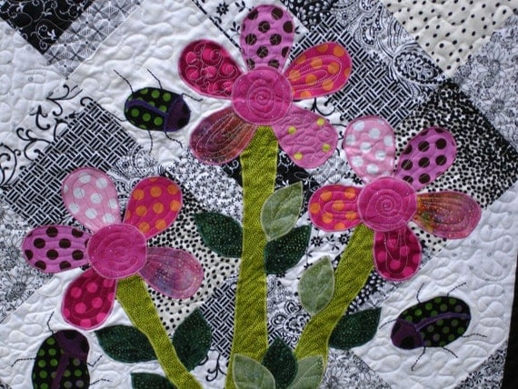 Lady Bug's Art Quilt - Quilted Art Wall Hanging - 32 inches square